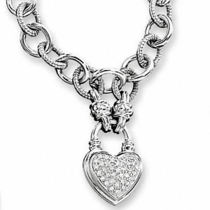 Zales 1/4 CT. T.W. Diamond Heart Link Necklace